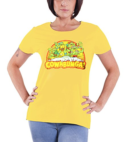 Officially Licensed Merchandise TMNT - Cowabunga Girly T-Shirt (Yellow), Large