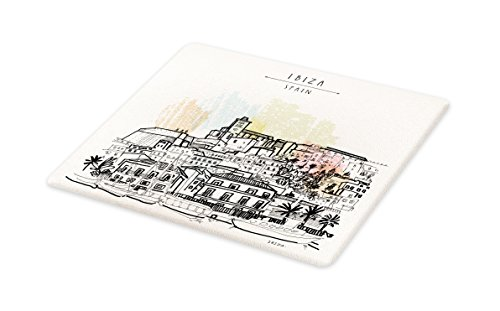 Lunarable Ibiza Cutting Board, Sketch Style Balearic Islands Spain Hand Drawn Historical Buildings and Boats Travel, Decorative Tempered Glass Cutting and Serving Board, Large Size, Multicolor by Lunarable