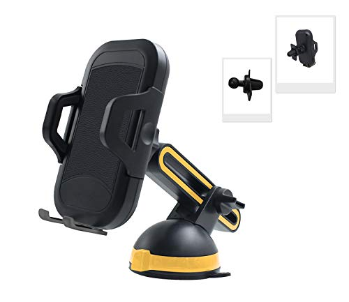 Adjustable Car Mount Phone Holder, Cell Phone Mount with Retractable Arm, Compatible with iPhone Xs MAX/XS/XR/X/8/8 Plus, Samsung Galaxy S9/S8/S7, and More (Leather Texture)