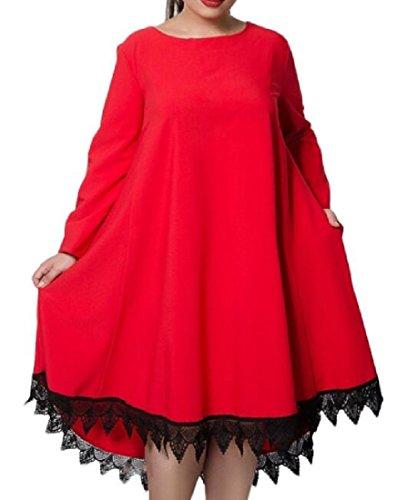 Di Colore Rosso Graziosi Larghi Puro donne Coolred Grande Russe Abiti Pendolo A08wWPxq