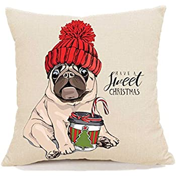 Stupid Elephant 18x18 inch Christmas Farmhouse Pug Pillow Covers Decor Decorations Throw Pillow Cover Pillow Case Cushion Cover