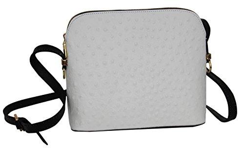 AMBRA Moda Damen Handtasche Umhängetasche Leder Tasche klein SL702 Weiß 2 mit Schwarz 0SyHSqSbYn