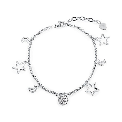 iCAREu 925 Sterling Silver Adjustable Sky Charm Bracelet for Women, Girls, 8