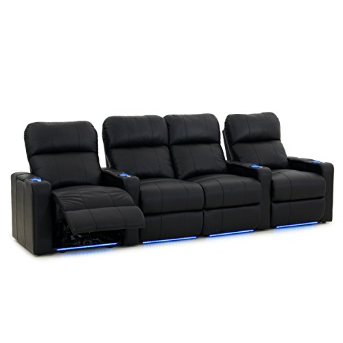 Octane Seating Octane Turbo Home Theater Seats Black Leather - Power Recline - Lighted Cup Holders - Arm Storage - Memory Foam - Straight Row 4 w/Loveseat ()