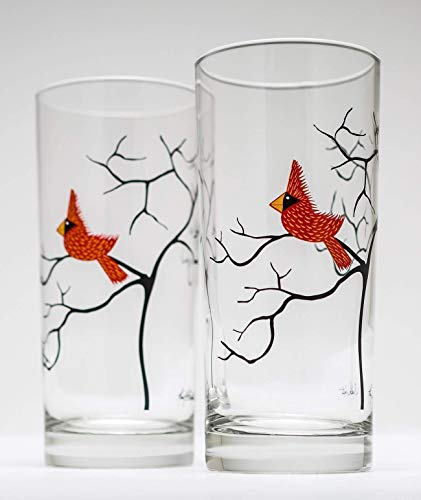 Cardinal Glassware - 16 oz Drinking Glasses, Mother's Day Glasses, Hostess Gift, Red Birds (Holiday Drinking Glasses)