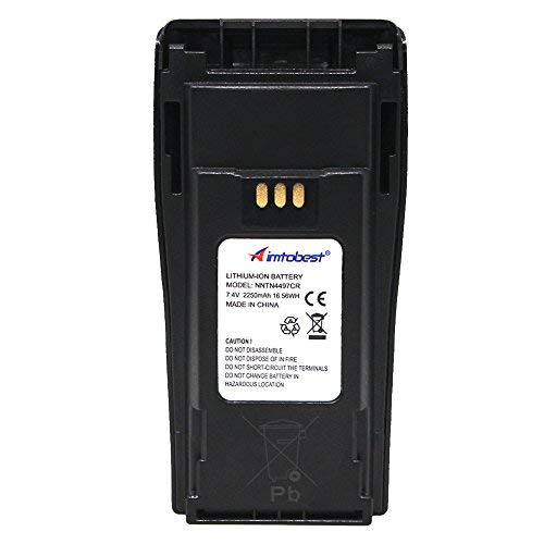 NNTN4497CR 7.4V 2250mAh Li-ion Battery Compatible for Motorola Radio NNTN4497 CP040 CP150 CP200 CP200D CP200XLS EP450 DEP450 PR400 GP3188 GP3688 Walkie Talkies with Belt Clip