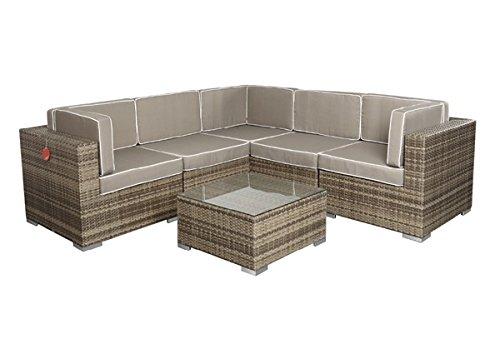 Rattan Lounge Espace Exclusive Start 3 - 2 Sitze inkl. Kissen - Farbe: Grau meliert