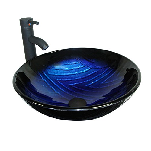 DOIT Bathroom Round Ocean Ripple Blue Glass Vessel Sink with Oil Rubbed Bronze Faucet and Pop-up Drain Combo (Round)