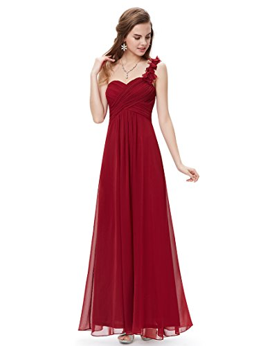 Ever-Pretty Juniors One Shoulder Empire Waist Long Prom Dress 10 US Burgundy
