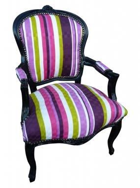 Vintage Louis XV Style Vibrant Multi Colour Striped Salon Arm Chair