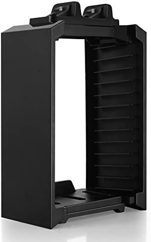 TNP PS4 Stand + Controller Charger + Game Storage Organizer – Vertical Dock Charge Charging Station for DualShock Controller, Bluray Game Case Storage Holder Tower 4-in-1 Accessories [Playstation 4]