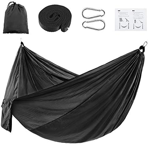 KONOO Outdoor Camping Hammock with 2 Tree Straps – Lightweight Nylon Parachute Portable Hammock for Single Person for Travel, Beach, Camping – 106 x 55 Black
