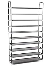 SONGMICS 10 Tier for 50 pair of shoes Rack Standing Storage Organizer Black 100 x 29 x 175 cm LSR10H