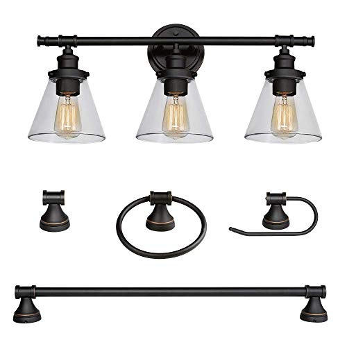 Globe Electric Parker 5-Piece All-in-One Bath Set, Oil Rubbed Bronze Finish, 3-Light Vanity, Towel Bar, Towel Ring, Robe Hook, Toilet Paper Holder 50192 (Renewed)