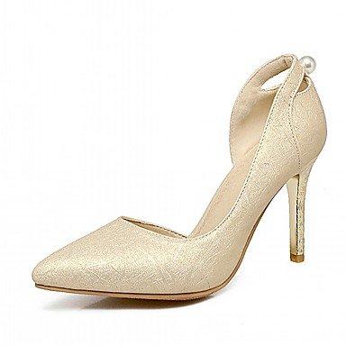 RUGAI-UE Moda de verano mujer sandalias casuales zapatos de tacones PU confort pasear al aire libre,Plata,US7.5 / UE38 / UK5.5 / CN38 Gold