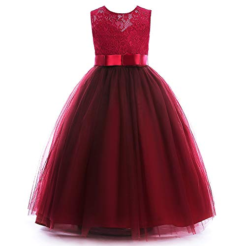 Glamulice Girls Lace Bridesmaid Dress Long A Line Wedding Pageant Dresses Tulle Party Gown Age 3-16Y (7-8Y, O-Wine Red)