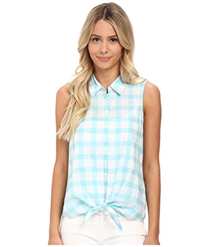 - C&C California Women's Windowpane Tie Front Shirt Maui Blue Button-up Shirt XS (US 0-2)