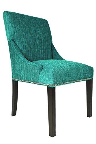Sole Designs, Inc Marie Collection Lucky Upholstered Spring Seat Double Dow Dining Chairs (Set of 2) Nailhead Trim, Turquoise For Sale