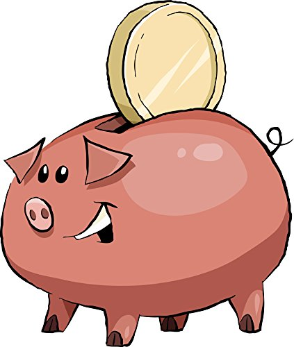 Cute Smiling Pen Sketch Piggy Bank with Coin Cartoon Vinyl Decal Sticker (12