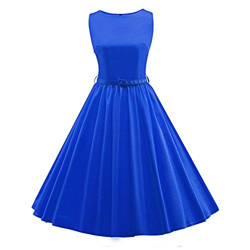 50 Millésime Été Des Femmes Audrey Hepburn Meilleurs Pour La Santé Ceinture Robe Sans Manches Bleu