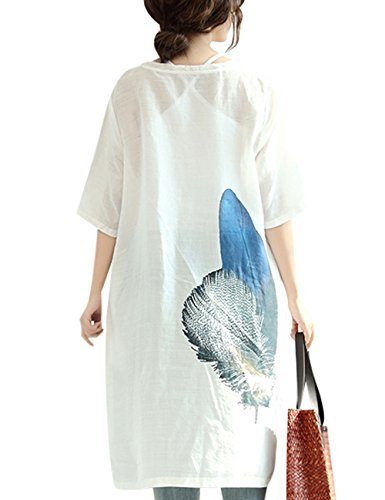 Youlee Mujeres Azul Plumas Impreso Lino Vestir Blanco