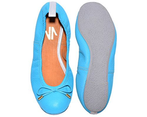 (VIDALeather Colored Ballerina Flats for Women | Bailarinas De Mujer Aqua 7)