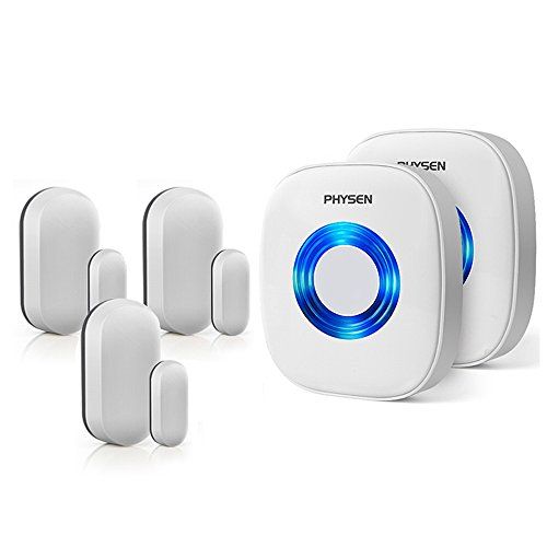 Physen Wireless Door/Window Sensor Chime kit with 3 Magnetic Door Sensors and 2 Receivers with Operating at 600-feet Range,4 Volume Levels with 52 Melodies Chimes for - Wireless Door Alert