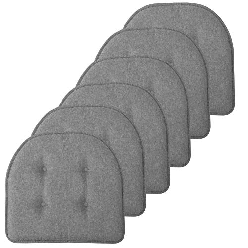 Sweet Home Collection Chair Cushion Memory Foam Pads Tufted Slip Non Skid Rubber Back U-Shaped 17″ x 16″ Seat Cover, 6 Pack, Grey 6 Count