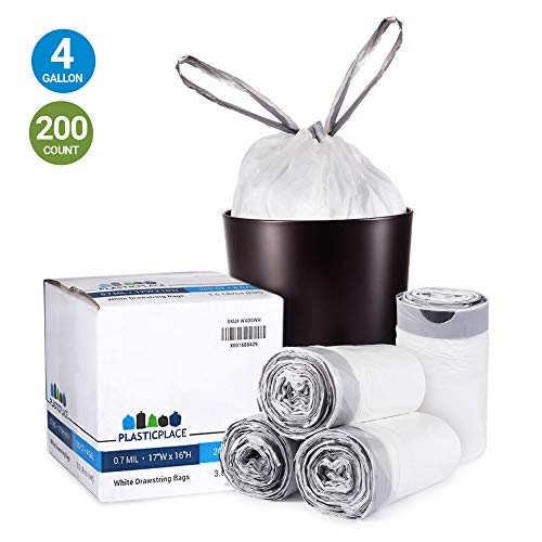 Plasticplace 4 Gallon Trash Bags │ 0.7 Mil │ Drawstring White Garbage Can Liners │ 17' x 16' (200 Count)