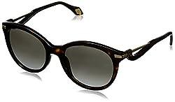 Carolina Herrera Women's SHN546M520722 Round Sunglasses, Dark Havana,Gold & Gradient Grey, 52 mm