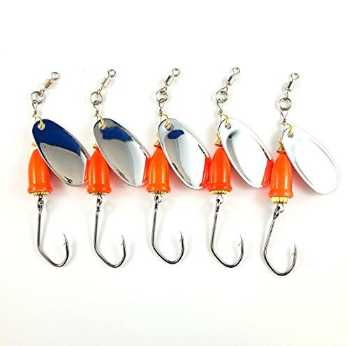 Prime Lures Bell Fishing Spinners (Fl. Orange w/ Silver Blade, 2/5oz) (Primo Lure)