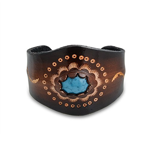 Bling Jewelry Hand Carved Etched Leather Bendable Cuff Bracelet for Women Simulated Turquoise