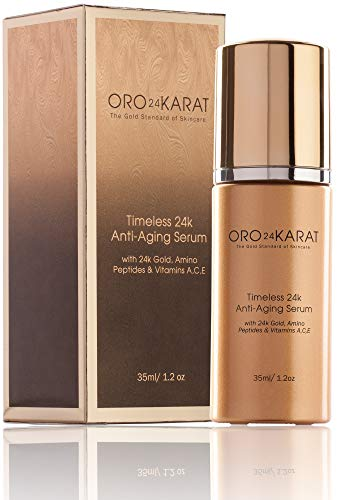 24K Anti-Aging Serum Radiant Skin Anti-Wrinkle Reduce Fine Lines Refreshing Minimize Age Spots Rich with Vitamins C and E Made with 24k Gold Made in the USA (1.2oz)