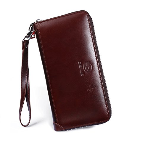 Wallets for Men, PESTORY Handmade Cowhide Genuine Leather Zip Around Wallet Long Extra Capacity 8 Card Slot Zipper Pocket for Coins Cellphone Pocket (Brown Zip Around) (Long Wallet Zip)