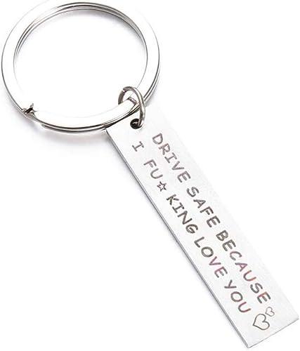 Yinew Drive Safe Schlüsselanhänger Tag Anhänger Keychain Nachricht Eingraviert Drive Safe Weil Ich Verdammt Liebe Dich Brief Anhänger Inspirierende Geschenk Für Männer Mann Papa Schmuck