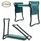 Ohuhu Garden Kneeler Seat, Soft Kneeling Pad Foldable Gardening Stool 2 Bonus Tool Pouches, 2 Pack
