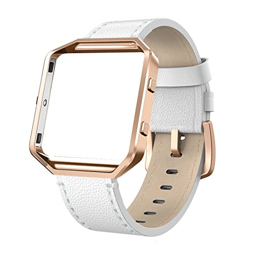 SWEES Leather Bands Compatible with Blaze Smart Watch, Genuine Leather Replacement Band with Metal Frame Small & Large for Women Men, Champagne Gold, Rose Gold, Black, Brown, White, Grey, Beige (Boxed Champagne)
