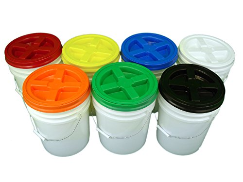 Bucket Kit, Seven White 5 Gallon Buckets with Assorted Color Gamma Seal - Gallon 5 Bucket Food Grade