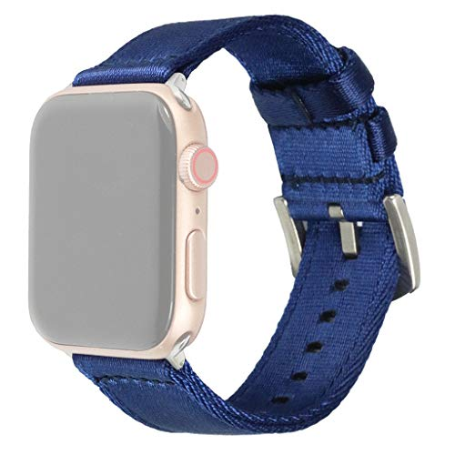 Amaping Weaving Sports Fashion Design Soft Breathable Thin Version Replacement Wristband for Apple Watch 4/3/2/1 38mm/40mm Nylon Weaving Strap WatchBand (Dark Blue)