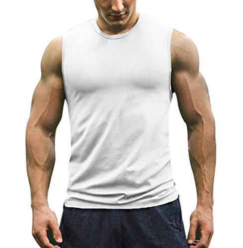 COOFANDY Men's Workout Tank Top Sleeveless Muscle Shirt Cotton Gym Training Bodybuilding Tee - Training Sleeveless Tee