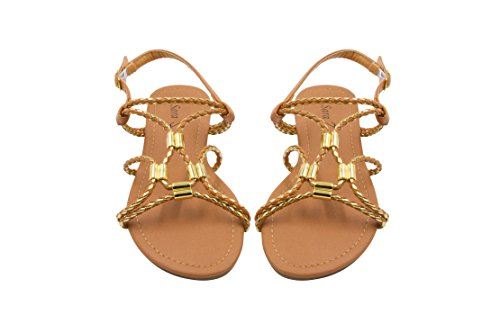 Sara Z Ladies Gladiator Sandal With Woven Metallic Straps And Metal Accents 11 Cognac/Gold