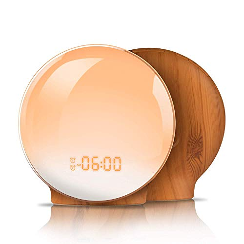 Wake Up Light Alarm Clocks for Bedrooms TITIROBA Sunrise Alarm Clock for Kids Heavy Sleepers Night Light Sleep Timer, Snooze Function Digital LED Alarm Clock,7 Natural Sounds & FM Radio Wood Grain