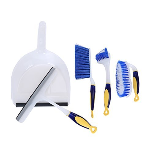 Dust Pan with Brush and Handle, Shower Squeegee, Scrub Brush, Toilet Bowl, Tile, Grout, or Sink Brush with Comfort Grip - 5 Piece Set - Blue - Great for Dorm and Starter Home (Metal Toilet Scrubber compare prices)