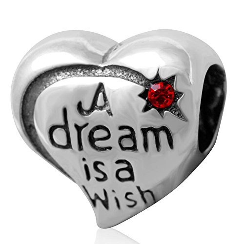 Choruslove Heart 925 Silver Charm Engraved A Dream is A Wish for Snake Chain Bracelet Hyacinth Crystal