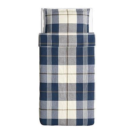 amazoncom ikea kustruta duvet cover and pillowcase blue check twin home u0026 kitchen