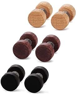 Jstyle Joyería en Acero Inoxidable 3 Pares 18G 8mm Pendientes de Madera Mujer Hombre Negro Marrón y Amarillo