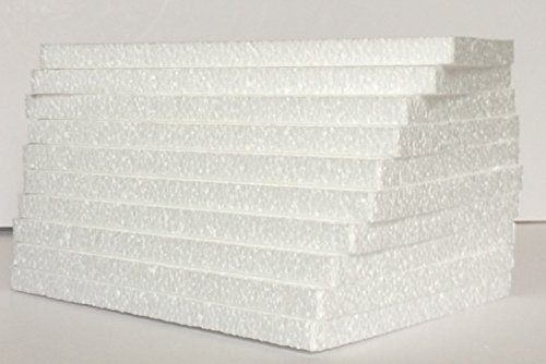 Styrofoam Sheets (6 X 8 X 1/2 inches) - White (Lot of 10)