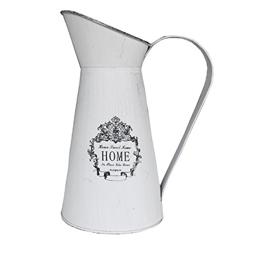 Convex Vase - APSOONSELL French Style Shabby Chic Large Metal Pitcher Flower Vase Primative Jug Vase