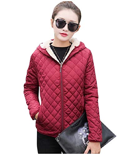 Red Slim Women Coat Plus Slim Velvet Fitting Zip Fleece Wine Howme Up Fit 1Bw7x8Bd