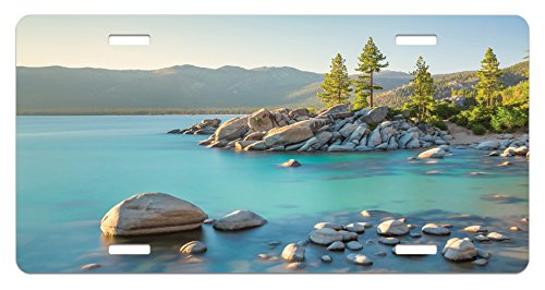 Lake License Plate by Ambesonne, Pastoral Spring Time Scenery in Provincial Countryside Lake Beach Shallow Water Theme, High Gloss Aluminum Novelty Plate, 5.88 L X 11.88 W Inches, Blue - Provincial Spring